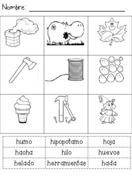 Identifica las palabra con 'h'