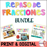Identificar y comparar fracciones BUNDLE / Compare fractions in Spanish