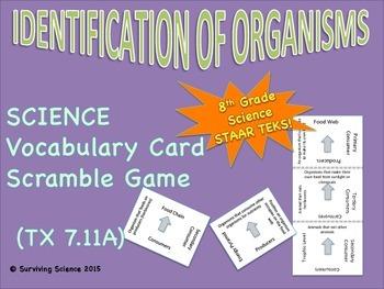 Identification of Organisms: Vocabulary Card Scramble Game (TEK 7.11A)