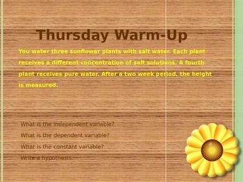 Identifing Variables & Writing a Hypothesis Daily Warm-ups