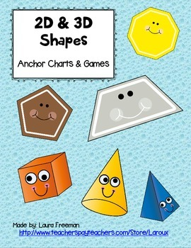 Identify 2d 3d Shapes Anchor Charts And Games Activity Pack For