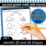 Identify 2D and 3D Shapes | Second Grade Math 2.G.1