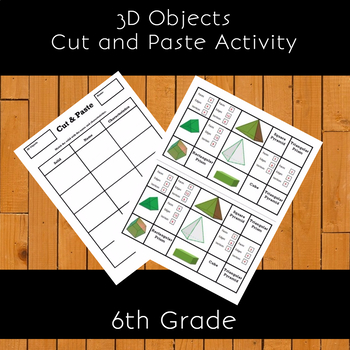 Identify 3-D Objects Cut & Paste Activity