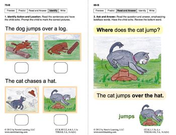 Identify Actions & Locations: Lesson 6, Book 6 (Newitt Prereading Series)