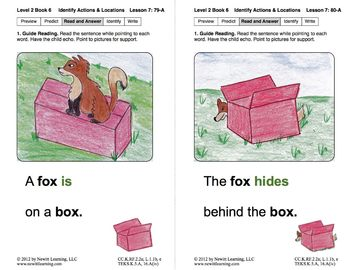 Identify Actions & Locations: Lesson 7, Book 6 (Newitt Prereading Series)