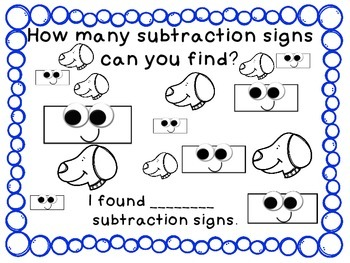 Identify Addition, Subtraction, and Equal Signs