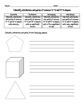 Identify Attributes of 2D and 3D Shapes