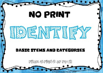 Identify Basic Items and Categories NO Print
