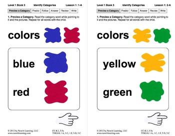 Identify Categories: Lesson 1, Book 3 (Newitt Prereading Series)