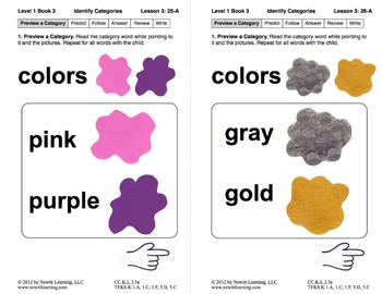Identify Categories: Lesson 3, Book 3 (Newitt Prereading Series)