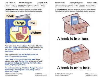Identify Categories: Lesson 8, Book 3 (Newitt Prereading Series)
