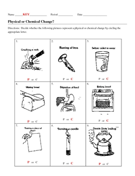Identify Chemical and Physical Changes Worksheet by jjms | TpT