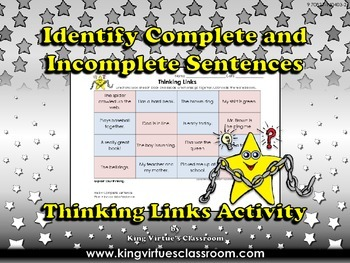 Identify Complete and Incomplete Sentences Thinking Links Activity #1