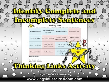 Identify Complete and Incomplete Sentences Thinking Links Activity #2