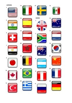 Identify Countries by Flags Crossword