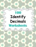 Identify Decimals Worksheets