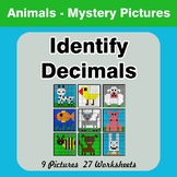 Identify Decimals - Animals Color By Number | Math Mystery Pictures