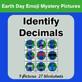 Identify Decimals - Earth Day Emoji Color By Number | Math Mystery Pictures