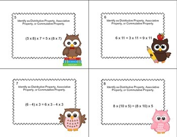 Identify Distributive or Associative or Commutative Property Grade 6 Task Cards