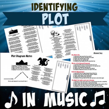 Identify Elements of Plot Diagram in Songs with answer Key