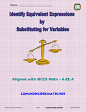 Identify Equivalent Expressions by Substituting for Variables - 6.EE.4