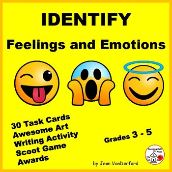 Identify Feelings and Emotions | Vocabulary | Character Education |Task Cards