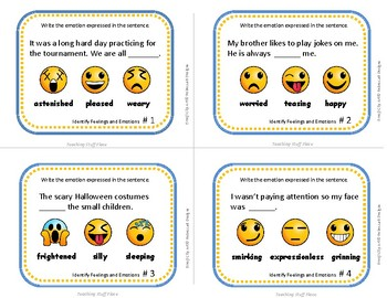 Identify Feelings and Emotions | Character Ed. Task Cards & Digital Version