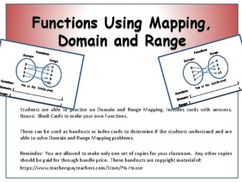 Identify Functions Using Mapping, Domain and Range