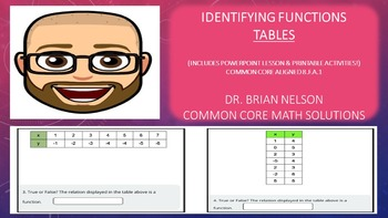 Identify Functions from Tables (PowerPoint Lesson & Printables)