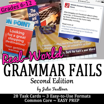 Grammar Fails from Real World, Bell Ringers Proofreading, Task Cards, 2nd Ed.