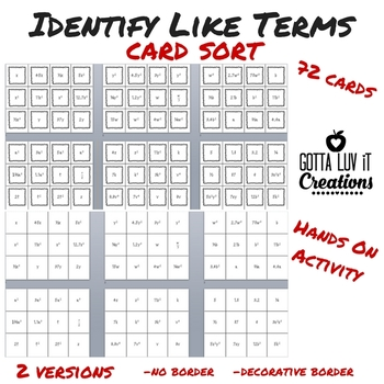 Identify Like Terms Card Sort