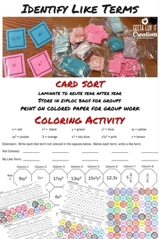 Color by Number & Card Sort Identify Like Terms Bundle