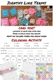 Color by Number & Card Sort Identify Like Terms Bundle Col