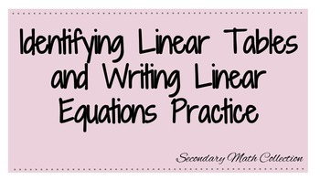 Identify Linear Equations and Writing Linear Equations Worksheet