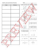 Identify Linear and Nonlinear Functions-Cut & Paste