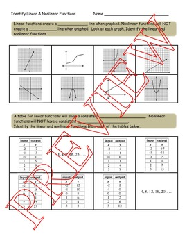 Identify Linear and Nonlinear Functions-Guided Practice with notes