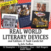 Literary Terms from Real World Examples, Bell Ringers, Task Cards, 2nd Edition