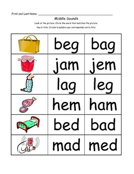 Identify Middle Sounds in CVC Words- Identify the Vowel