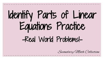 Identify Parts of Linear Equations Worksheet
