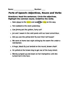 Identify Parts of Speech: Adjectives, Nouns, Verbs