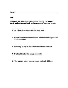 Identify Parts of Speech in a Sentence