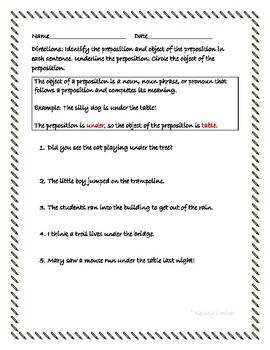 Identify Preposition/Object of Preposition