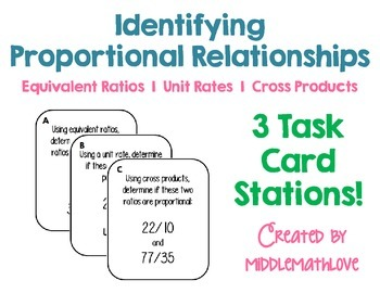 Proportions Task Cards - Equivalent Ratios, Unit Rates, an