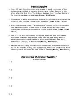 Identify Push-Pull Factors / Immigration, Westward Migration, Colonization