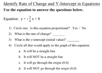Identify Rate of Change & Y Intercept in Tables & Equations