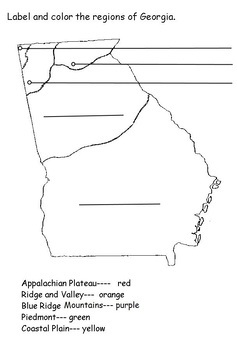 2nd Grade Identify Regions of Georgia
