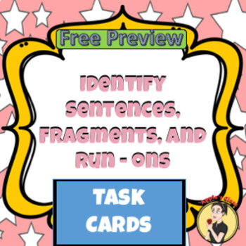 Identify Sentences, Fragments, and Run-Ons Task Cards