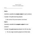 Identify Simple & Complete Subject Warmups (3 worksheets i