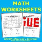 Identify Slope & y-Intercept of a Linear Relation Riddle & Coloring Worksheet