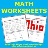 Identify Slope & y-Intercept of a Linear Relation Riddle & Coloring Worksheet #2
